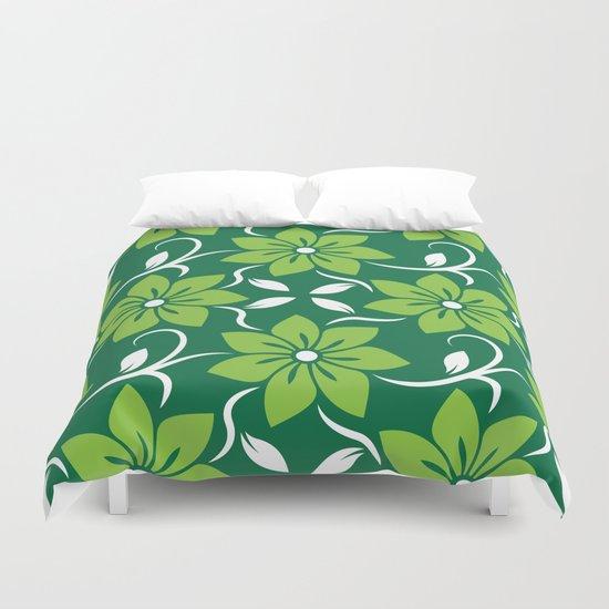 Green Spring Flower Pattern Duvet Cover