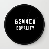 equality Wall Clocks featuring Gender Equality by worksbeautifully
