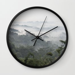 Borobudur view - foggy sunrise Wall Clock
