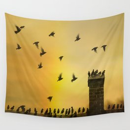 Rooftop Birds Wall Tapestry
