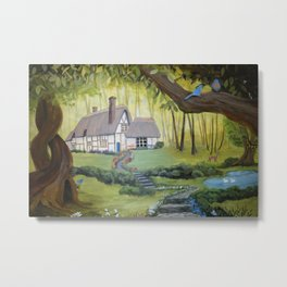Whimsical Cottage in the Woods Metal Print