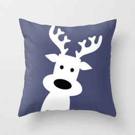 Reindeer on blue background Throw Pillow