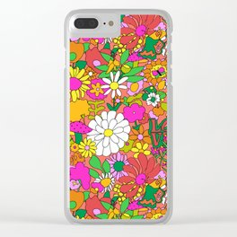60's Groovy Garden in Neon Peach Coral Clear iPhone Case