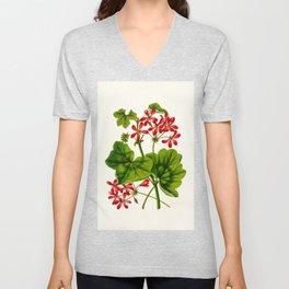 Joy Leaved Geranium Vintage Scientific Botanical Flower Illustration Hand Drawn Art Unisex V-Neck