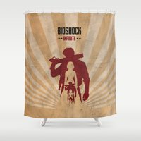 bioshock Shower Curtains featuring Bioshock Infinite - Booker and Elizabeth by Art of Peach
