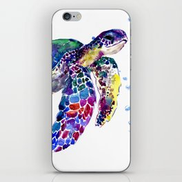 Sea Turtle Rainbow Colors, turtle design illustration artwork animals iPhone Skin