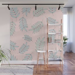 Good Vibrations / Pink Green Leaves Pattern Wall Mural