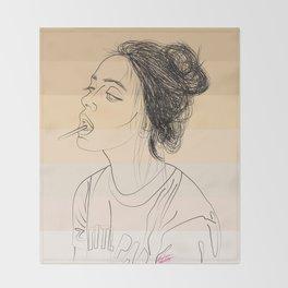 Simple Skintones Drawing of Woman Sucking Lollipop Throw Blanket