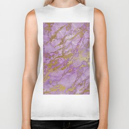 Gold Glitter and Ultra Violet Marble Agate Biker Tank