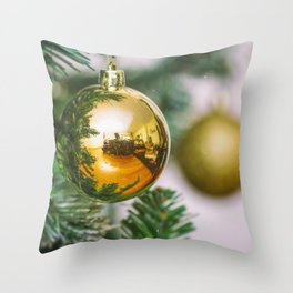Christmas tree decorated with golden balls Throw Pillow