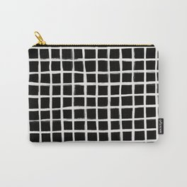 Form Brush Grid White on Black Carry-All Pouch