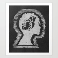 Think with your Heart (Black)  Art Print