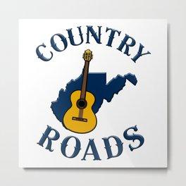 West Virginia Country Roads Music Guitar WV State Map Metal Print