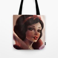snow white Tote Bags featuring Snow white by ChrySsV