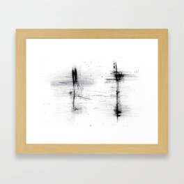 ink explorations (056) - abstract black india ink painting Framed Art Print
