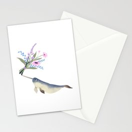 Narwhal Flowers Pink Lavender Stationery Cards