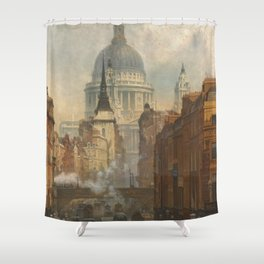 London skyline, Vintage view of St Paul's Cathedral Victorian era Shower Curtain