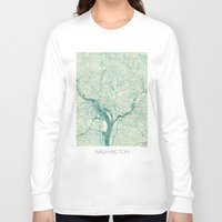 washington Long Sleeve T-shirts featuring Washington Map Blue Vintage by City Art Posters