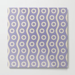 Mid Century Modern Rising Bubbles Pattern 2 Lavender and Tan Metal Print