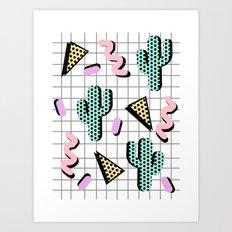 Sweetness - memphis retro grid cactus pastel neon 80s style classic socal beach life surf desert art Art Print