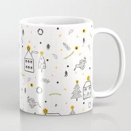 White Christmas Village Church House Coffee Mug