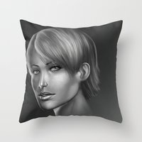 no face Throw Pillows featuring Face by clayscence