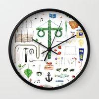 swedish Wall Clocks featuring swedish midsummer by N Li