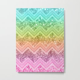 Rainbow Glitter Chevron #1 #shiny #decor #art #society6 Metal Print