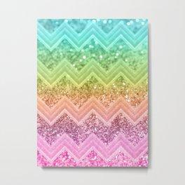 Rainbow Glitter Chevron #1 #shiny #decor #art #society6 Metal Print
