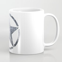 Circled Army Star on top of Brushed Riveted Steel Plate Coffee Mug