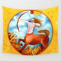 sagittarius Wall Tapestries featuring Sagittarius by Sandra Nascimento
