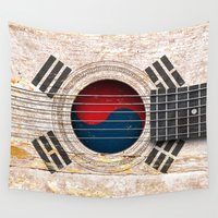 korean Wall Tapestries featuring Old Vintage Acoustic Guitar with South Korean Flag by Jeff Bartels