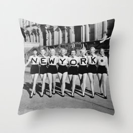 New York Girls in a line, lovely girls on the street - mid century vintage photo Throw Pillow