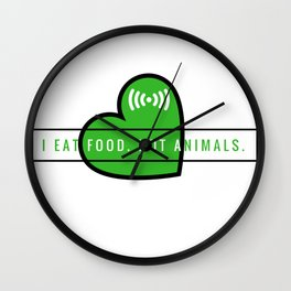 I eat food not animals | No como animales Wall Clock
