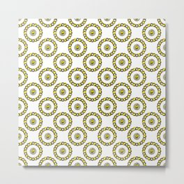 Gold and Silver Polka Dot Mandala Rings Pattern Metal Print