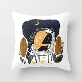 A PEACEFUL NIGHT, A Beautiful Girl With Long Hair Sleeping At Home Throw Pillow