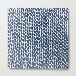 Hand Knit Zoom Navy Metal Print