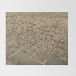 Vintage Pictorial Map of La Grange TX (1880) Throw Blanket
