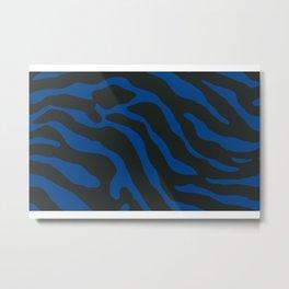 Tiger Skin Pattern Dark Cerulean Blue Metal Print
