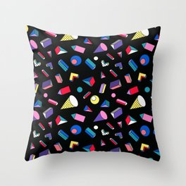 3D Shapes - 90's Pattern Throw Pillow