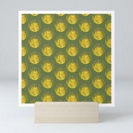 Pincushion Flower Yellow on Green Pattern Mini Art Print