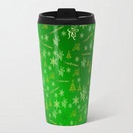 green gold Merry christmas text in gold, beautiful reindeer, green fir trees, bright stars festive Travel Mug