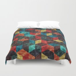 Colorful Isometric Cubes Duvet Cover