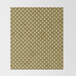 Gleaming Gold Leaf Scalloped Scale Pattern Throw Blanket