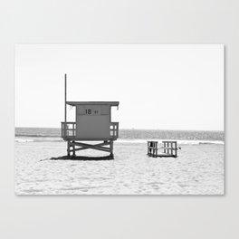 Manhattan Beach Lifeguard Tower (Black and White) Canvas Print