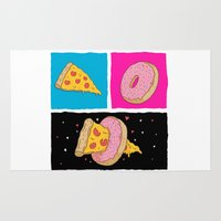donut Area & Throw Rugs featuring Pizza & Donut by Chris Piascik