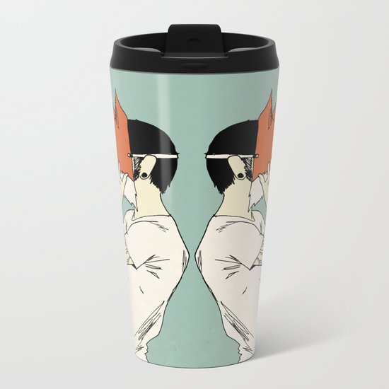 Foxes Print take 2 Metal Travel Mug