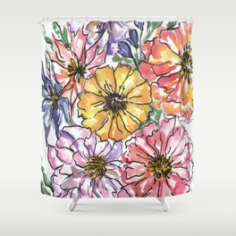 Watercolor flower arrangement Shower Curtain