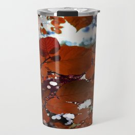 Branches in burgundy and bronze - Seamless fall leaf pattern Travel Mug