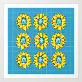 Yellow Flowers on Turquoise Art Print